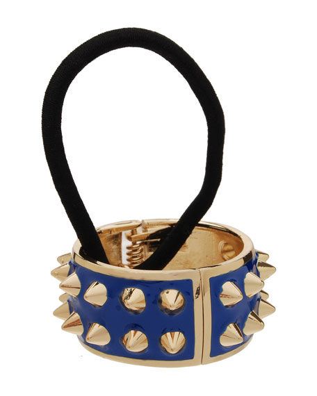Spiked Enamel Ponytail Holder with Cuff, Blueberry