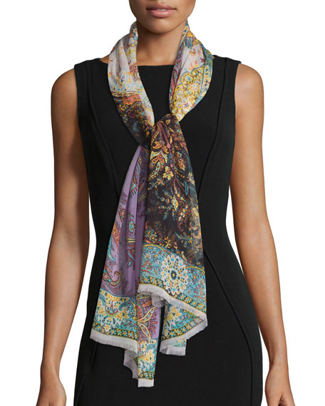 Etro Silk Fern Paisley Scarf, White/Multicolor