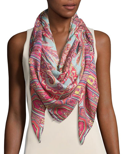 Bombay Paisley Silk & Wool Scarf, Aqua/Pink