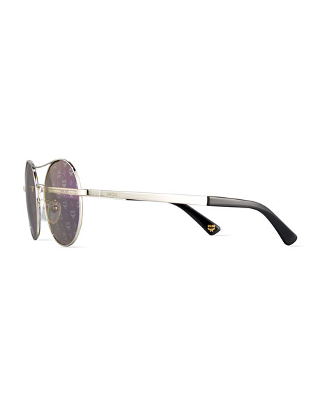 Round Mirrored Logo-Print Sunglasses, Light Gold/Blue