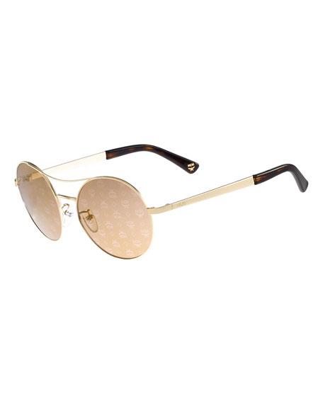MCM Round Mirrored Logo-Print Sunglasses, Gold/Bronze