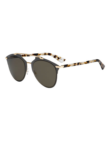 Dior Reflected Squared Aviator Sunglasses, Brown
