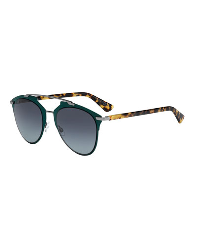 Reflected Squared Aviator Sunglasses, Green
