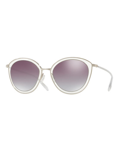 Gwynne Mirrored Cat-Eye Sunglasses, Silver