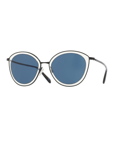 Gwynne Monochromatic Cat-Eye Sunglasses, Navy