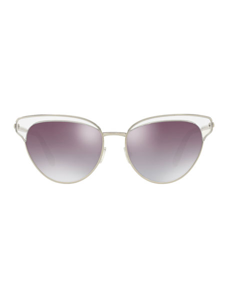 Josa Mirrored Cat-Eye Sunglasses, Silver