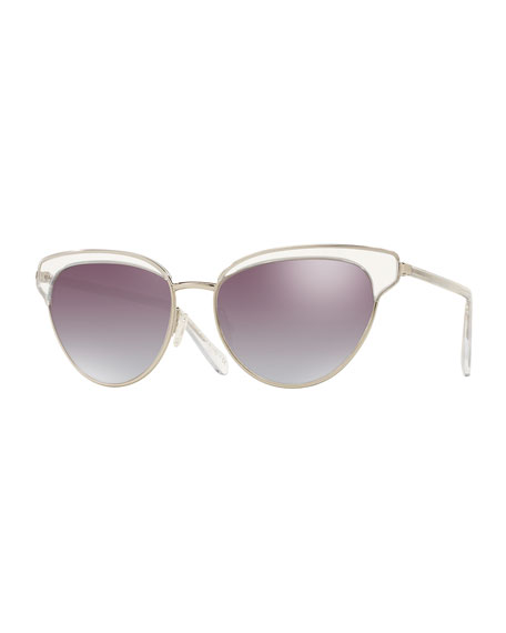 Oliver Peoples Josa Mirrored Cat-Eye Sunglasses, Silver