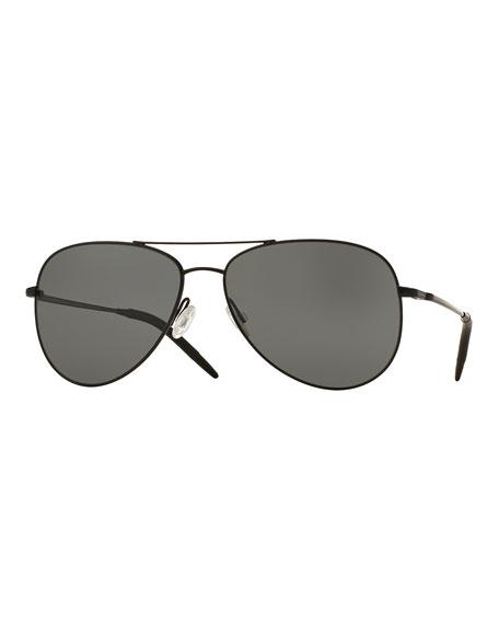 Oliver Peoples Kannon Polarized Aviator Sunglasses, Black