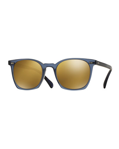 L.A. Coen Square Mirrored Sunglasses, Blue