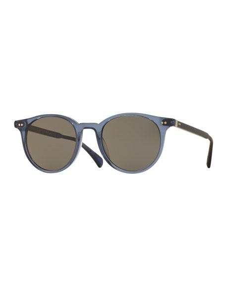 Oliver Peoples Delray Round Semi-Matte Sunglasses, Blue