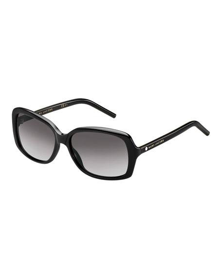 Rectangular Gradient Sunglasses, Black