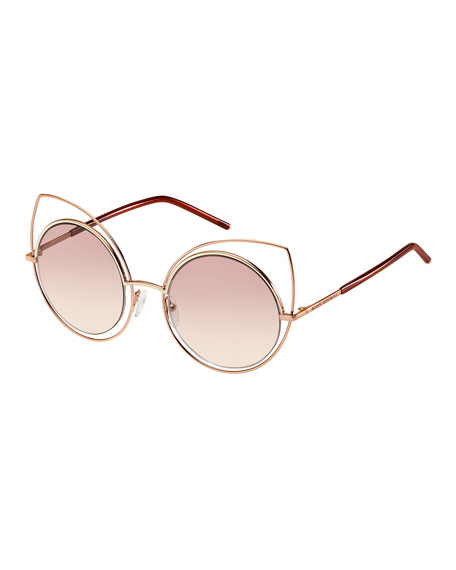 Marc Jacobs Metal-Rim Gradient Cat-Eye Sunglasses, Rose Gold