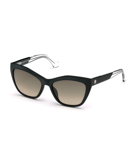 Balenciaga Geometric Gradient Cat-Eye Sunglasses, Black