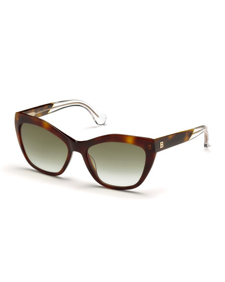 Balenciaga Geometric Gradient Cat-Eye Sunglasses, Light Havana