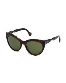 2724a16b2668 Balenciaga Cat-Eye Twist-Temple Sunglasses, Havana | Neiman Marcus