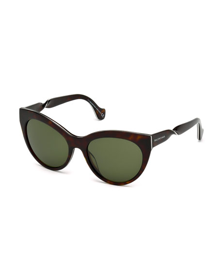 Balenciaga Cat-Eye Twist-Temple Sunglasses, Havana