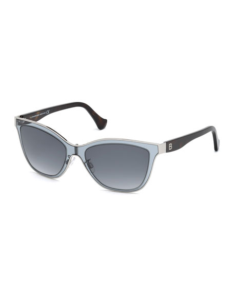 Balenciaga Translucent Cat-Eye Sunglasses, Gray Azure