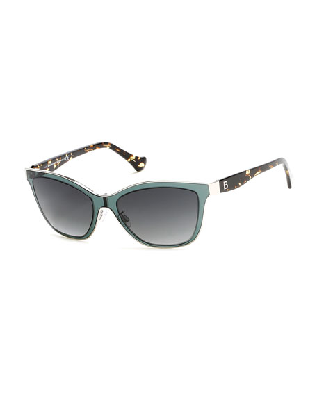 Balenciaga Gradient Cat-Eye Sunglasses, Green
