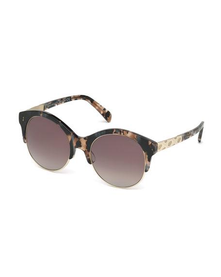 Emilio Pucci Metal-Trim Gradient Butterfly Sunglasses, Rose Havana
