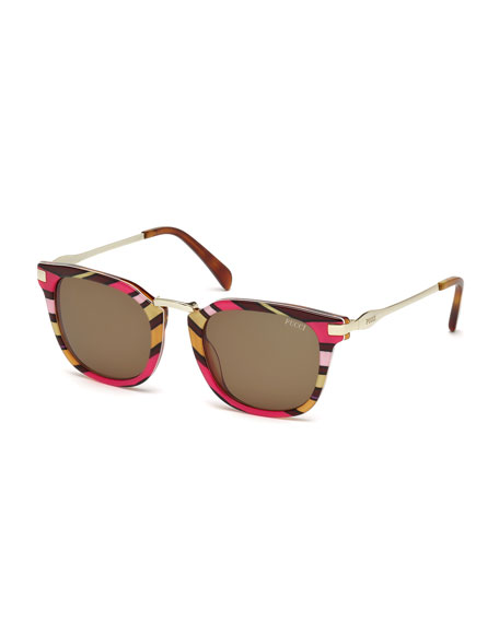 Emilio Pucci Patterned Combo Square Sunglasses, Fuchsia