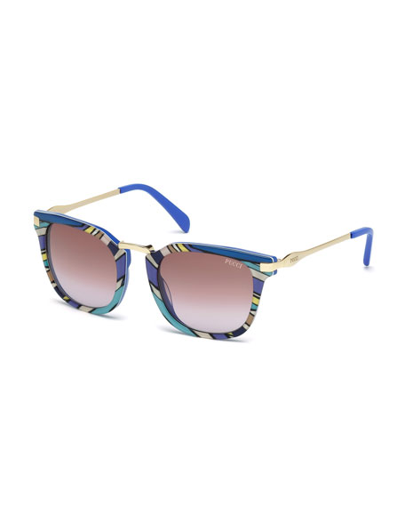 Emilio Pucci Patterned Gradient Square Sunglasses, Blue