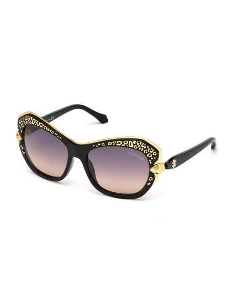 Roberto Cavalli Taygeta Gradient Animal-Trim Sunglasses, Black