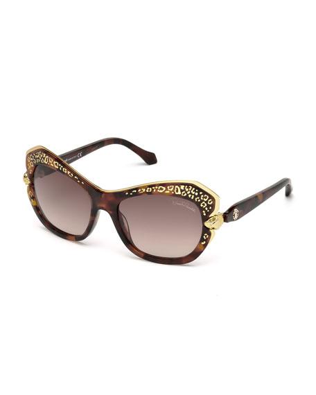 Roberto Cavalli Taygeta Gradient Animal-Trim Sunglasses, Havana