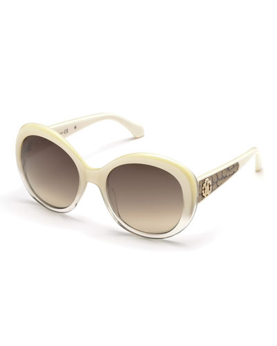 Tejat Two-Tone Round Sunglasses, Ivory