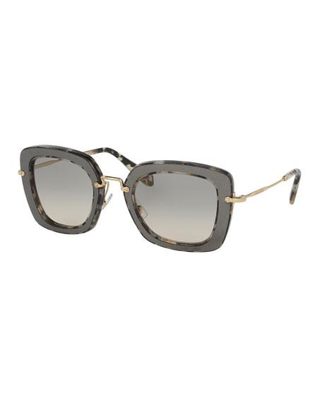 Miu Miu Trimmed Gradient Square Sunglasses, Black/White