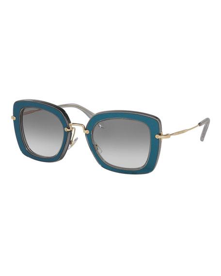 Miu Miu Trimmed Gradient Square Sunglasses, Gray/Blue