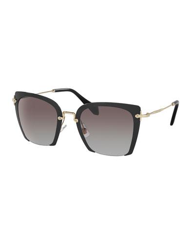 Square Gradient Cutoff Sunglasses, Black