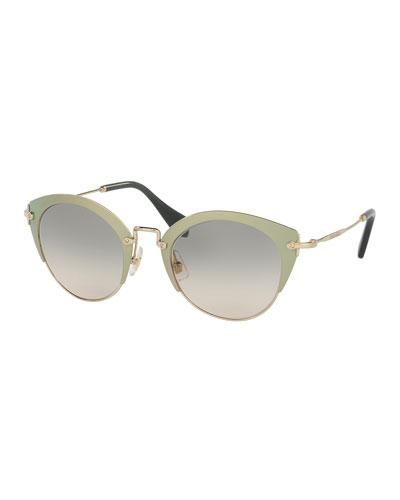 Trimmed Gradient Cat-Eye Sunglasses, Green