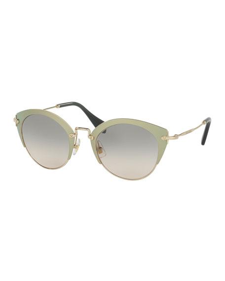 Miu Miu Trimmed Gradient Cat-Eye Sunglasses, Green