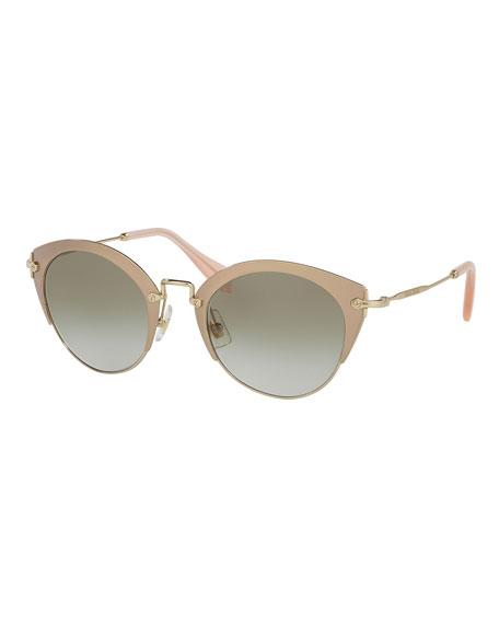 Miu Miu Trimmed Gradient Cat-Eye Sunglasses, Pink