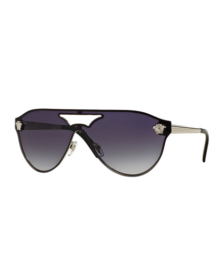 Versace Gradient Shield Brow-Bar Sunglasses, Silver