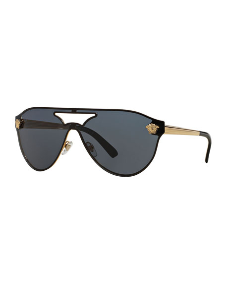 Versace Mirrored Shield Brow-Bar Sunglasses, Gold/Light Gray