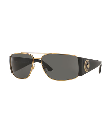 Versace Squared Monochromatic Aviator Wrap Sunglasses, Gold/Black