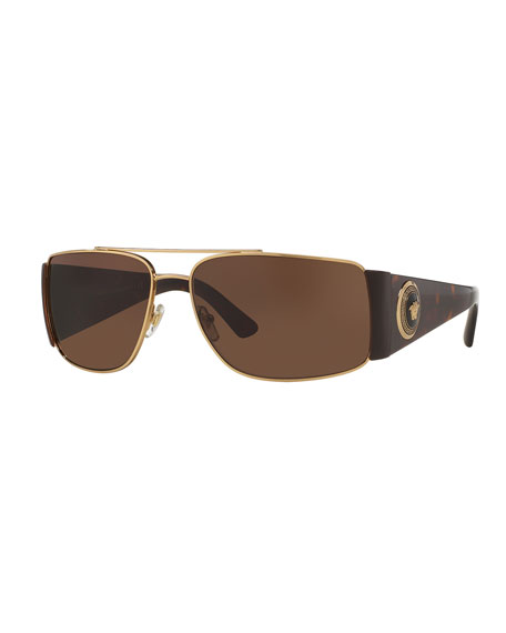 Versace Squared Monochromatic Aviator Wrap Sunglasses, Gold/Brown