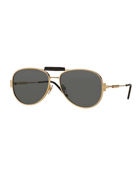 VersaceLeather-Trim Monochromatic Aviator Sunglasses, Gold/Gray