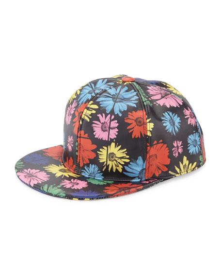 Moschino Floral Leather Baseball Cap, Black/Multicolor