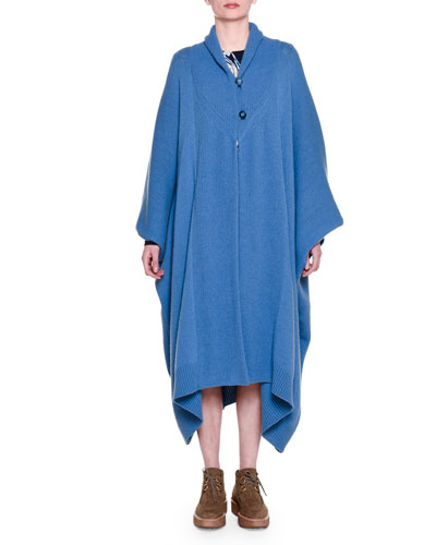 Long-Sleeve Oversized Cape, Steel Blue