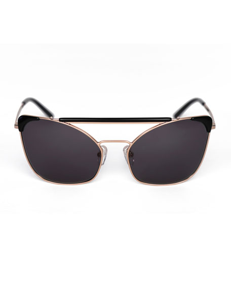 Chat Brow-Bar Cat-Eye Sunglasses, Black/Gold