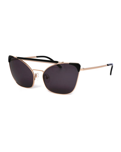 Chat Brow-Bar Cat-Eye Sunglasses, Black/Gold