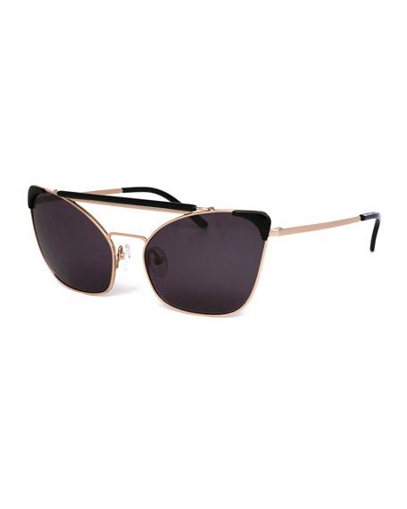 Grey Ant Chat Brow-Bar Cat-Eye Sunglasses, Black/Gold