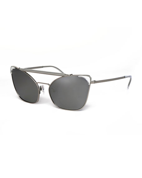 Chat Brow-Bar Cat-Eye Sunglasses, Silver