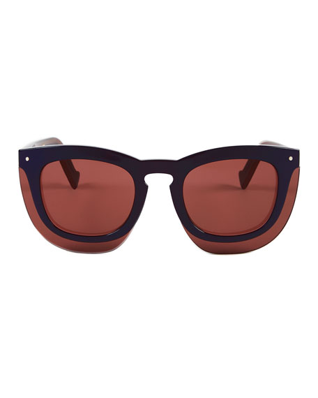 Inbox Oversize Square Sunglasses, Navy/Plum