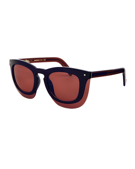 Grey Ant Inbox Oversize Square Sunglasses, Navy/Plum