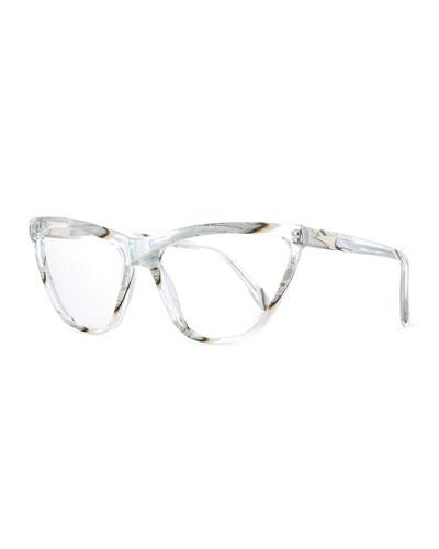 Cairo Cat-Eye Optical Frames, Clear Zebra