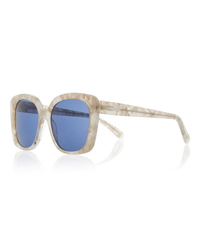 Monaco Printed Square Sunglasses, Pearl