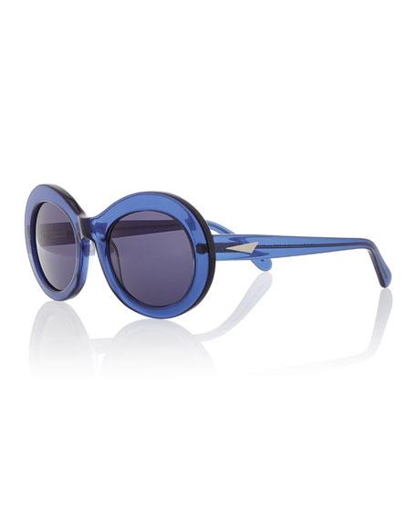 Prism San Francisco Transparent Oval Sunglasses Dark Blue